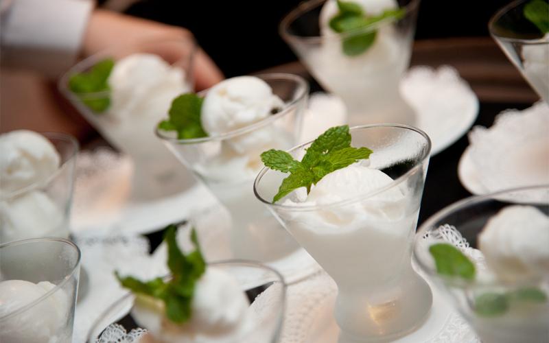 Lemon Sorbet with Mint Leaf