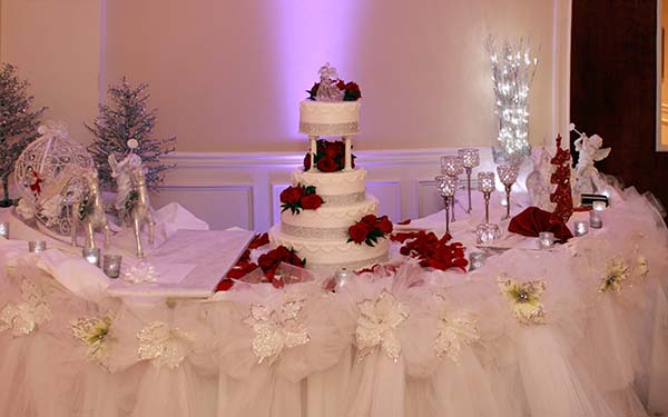 Wedding Cake on Table at Banquet Facility