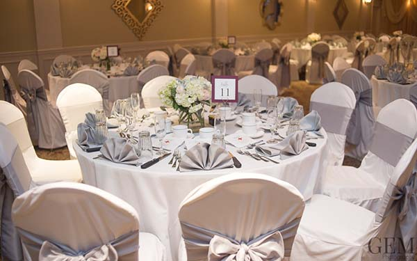 Banquet Table Setting with White and Silver