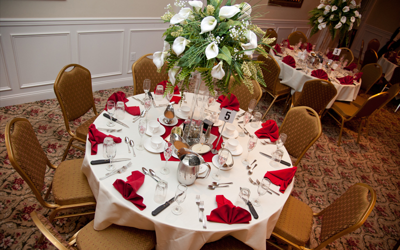 Red and White Theme for Table