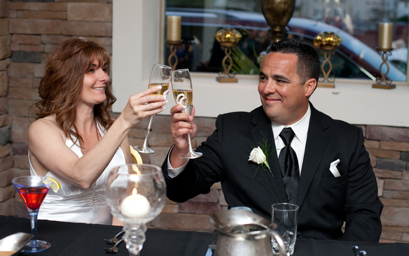 Couple Toasting at Their Wedding Reception