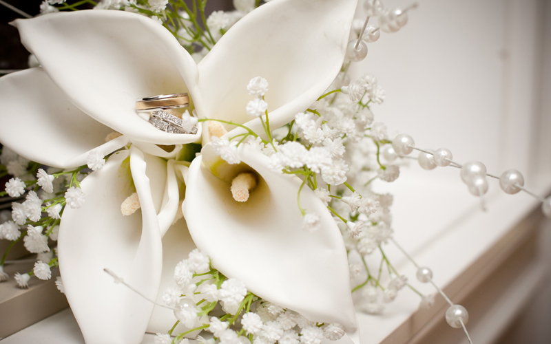 Wedding Flowers with Ring Staged from Photographer