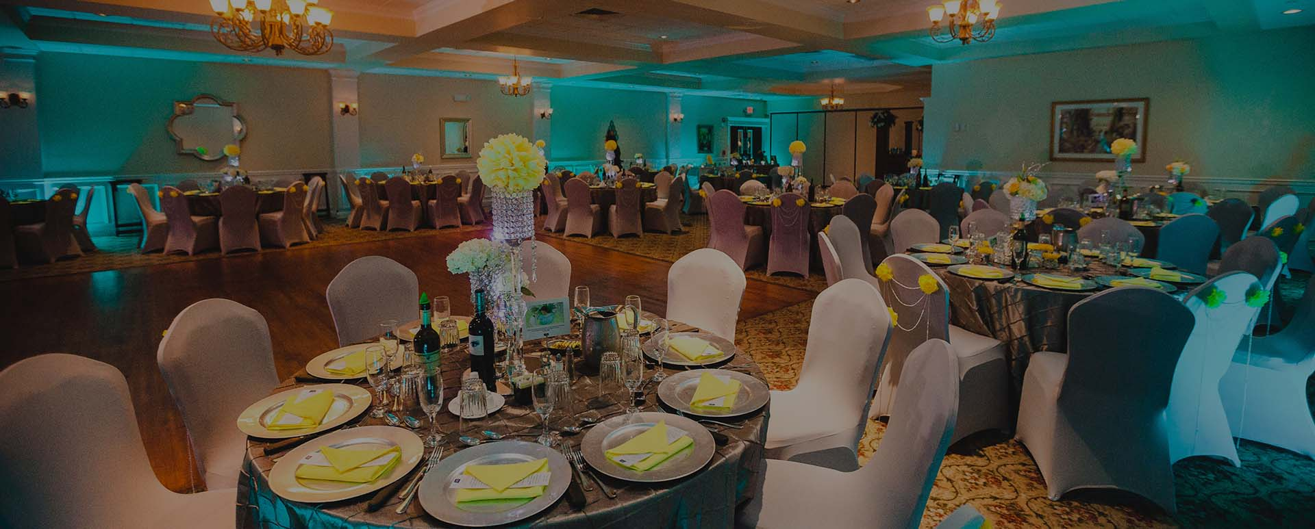 Teal Uplighting in Testa's Banquet Facility