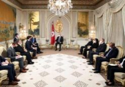 The delegation met with President Saied, members of parliament (MPs), and representatives of civil society organizations. (Photo from Tunisian Presidency)