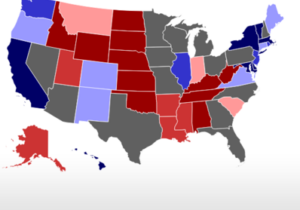 The 2020 battleground states are highlighted in gray, and include Wisconsin, Ohio, and Florida, among others. (Photo from RealClearPolitics)