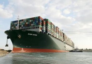 A small group of boats worked around the clock to free the stuck container ship. (Photo from Suez Canal Authority)