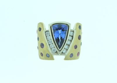 tanzanite ring with diamonds and multi-colored sapphires