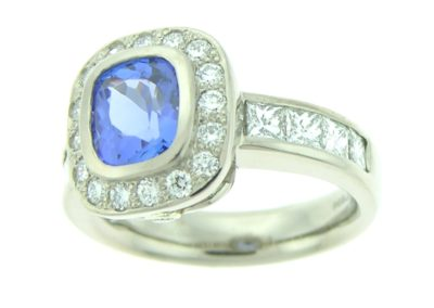 halo style tanzanite ring