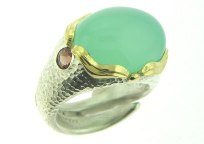 Aquamarine ocean ring hammered silver gold waves and sunstone