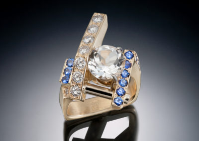 Artisan Jewelers Blue sapphire and diamond ring