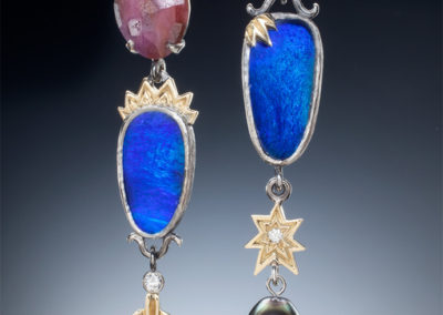 Artisan Jewelers Opal and pink sapphire earrings