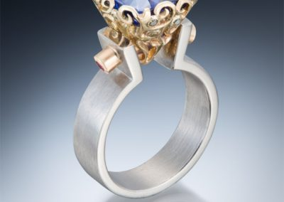 tanzanite and filigree bezel contemporary gold ring
