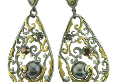 vine earrings set with tahitian pearl chocolate zircon black star sapphire diamonds