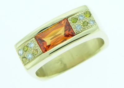 contemporary square ring set with orange sapphire,white and yellow diamonds