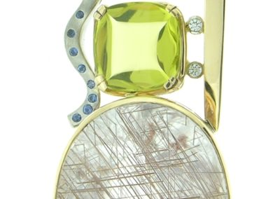 Two-tone slide rutilated quartz,lime quartz, blue sapphires diamonds