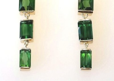 bar set tourmaline earrings