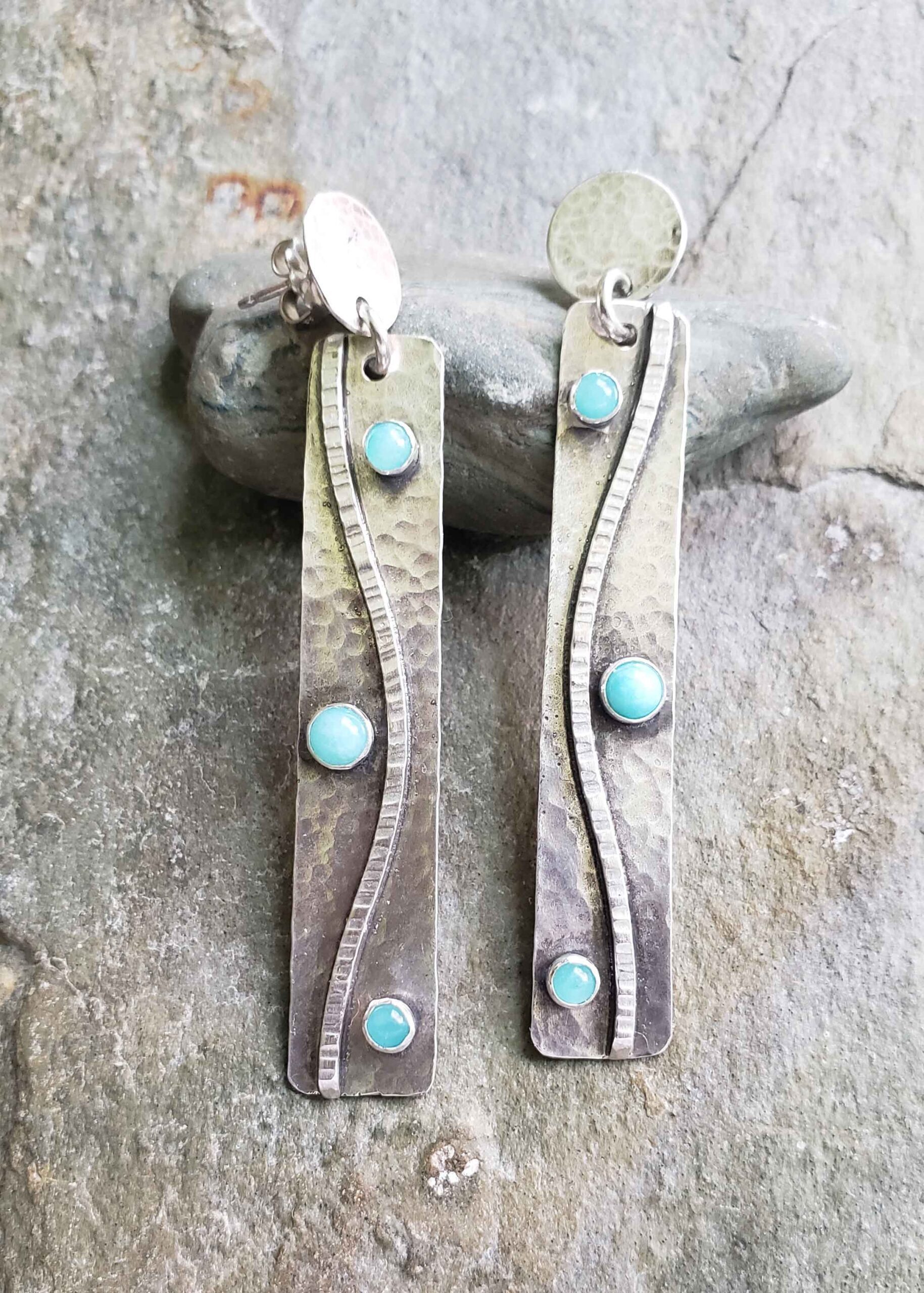 spring fling - silver and amazonite post earrings. Dona Miller Designs, LLC