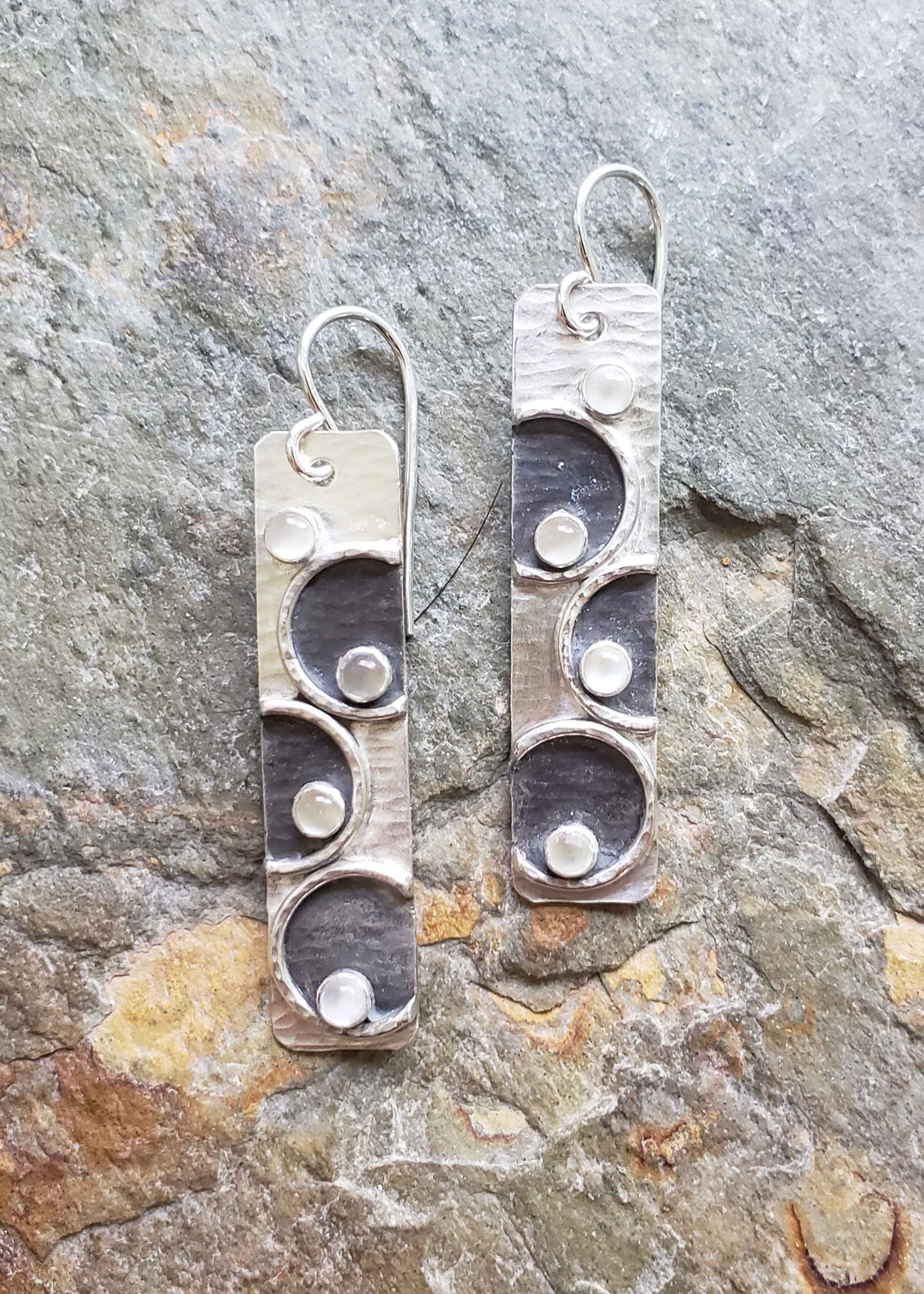 Finding Balance - silver and moonstone earrings. Dona Miller Designs, LLC