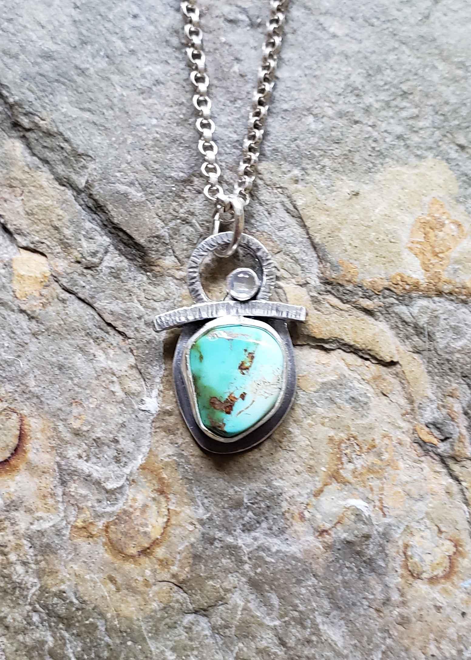 Turquoise Godess Amulet - turquoise rainbow  moonstone . Dona Miller Designs, LLC