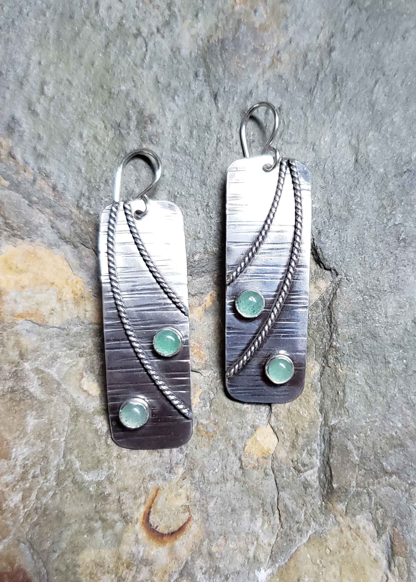 Silver and green adventurine earrings by Dona Miller