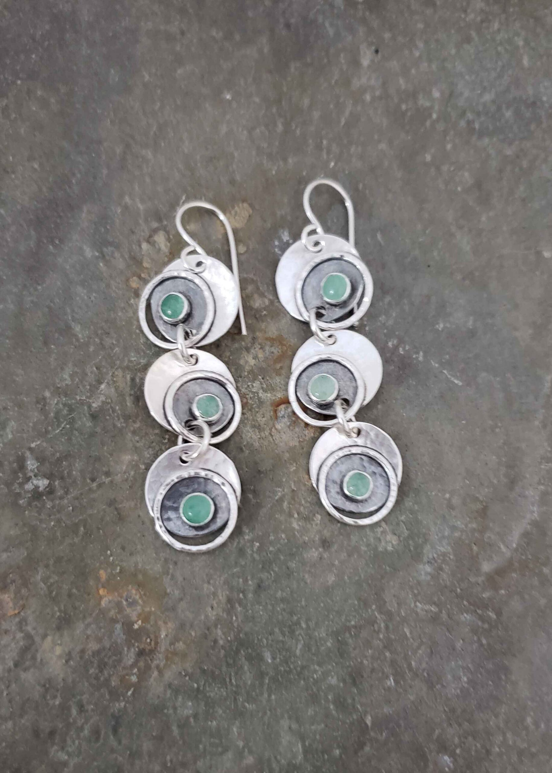 Fun silver and green adventurine silver earrings by Dona Miller.
