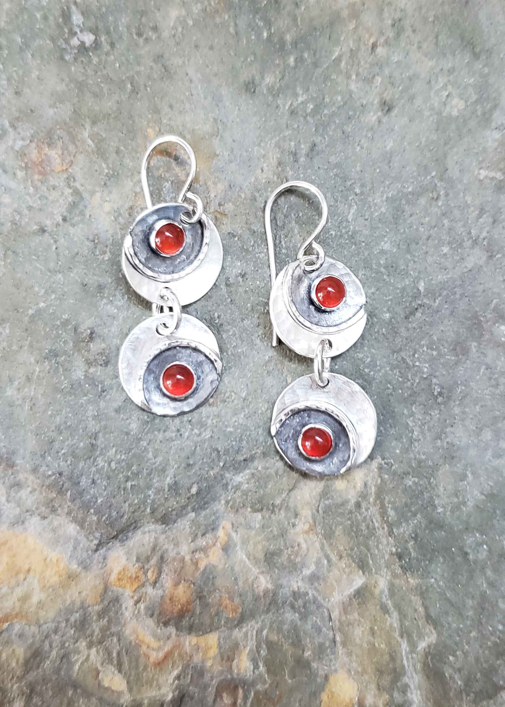 Silver and red carnelian bubble earrings by Dona Miller