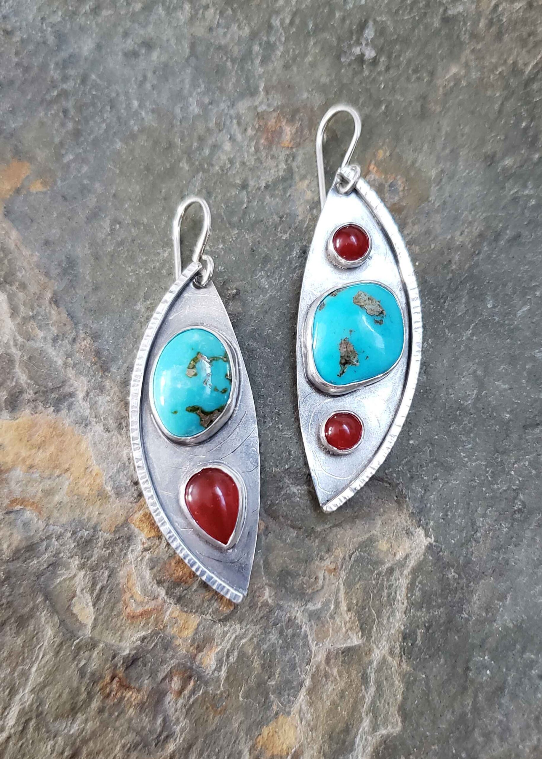 Silver, turquois and red carnelian contemporary earrings by Dona Miller.