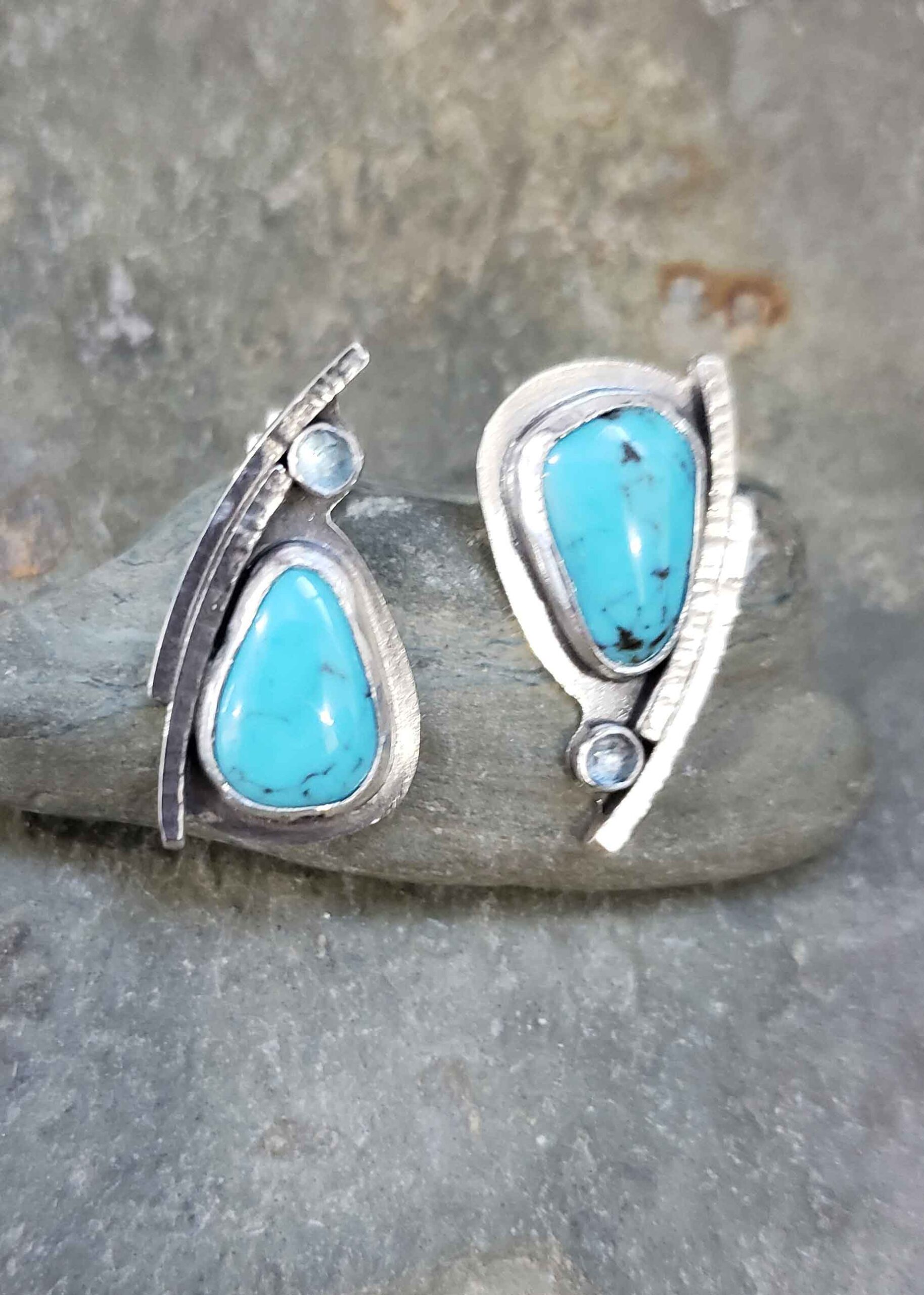 Turquoise and blue topaz silver post earrings by Dona Miller.