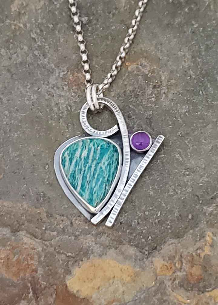 Luck of the Draw - turquoise amazonite and purple amethyst silver pendant.