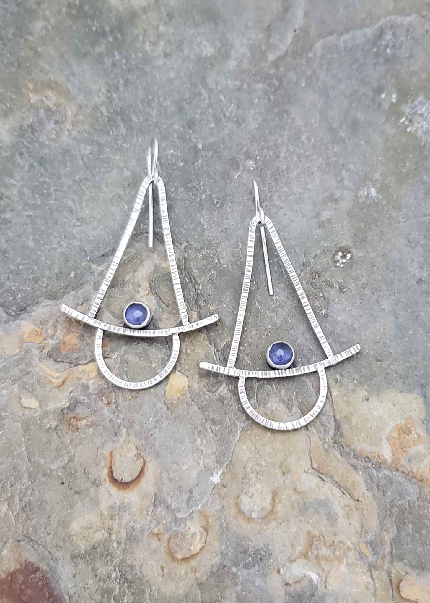 Stability - silver and blue iolite earrings.