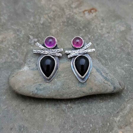 Goddess Earrings - rosy purple and black silver earrings