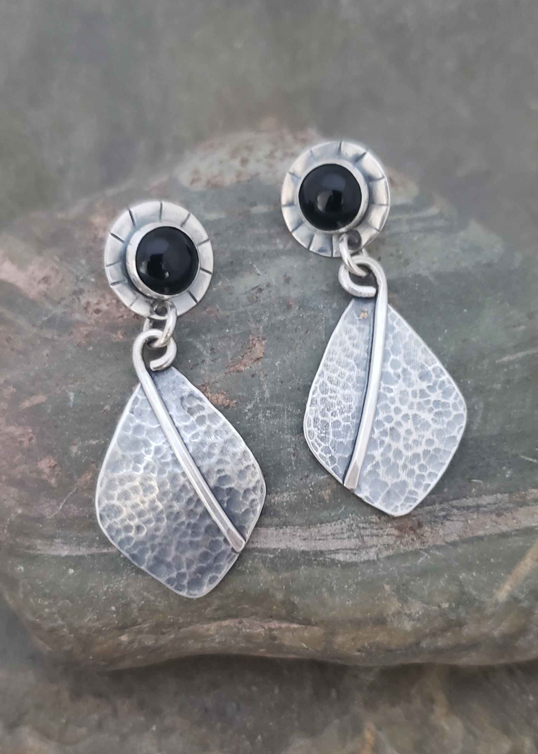 New Moon - silver and black onyx post earrings.