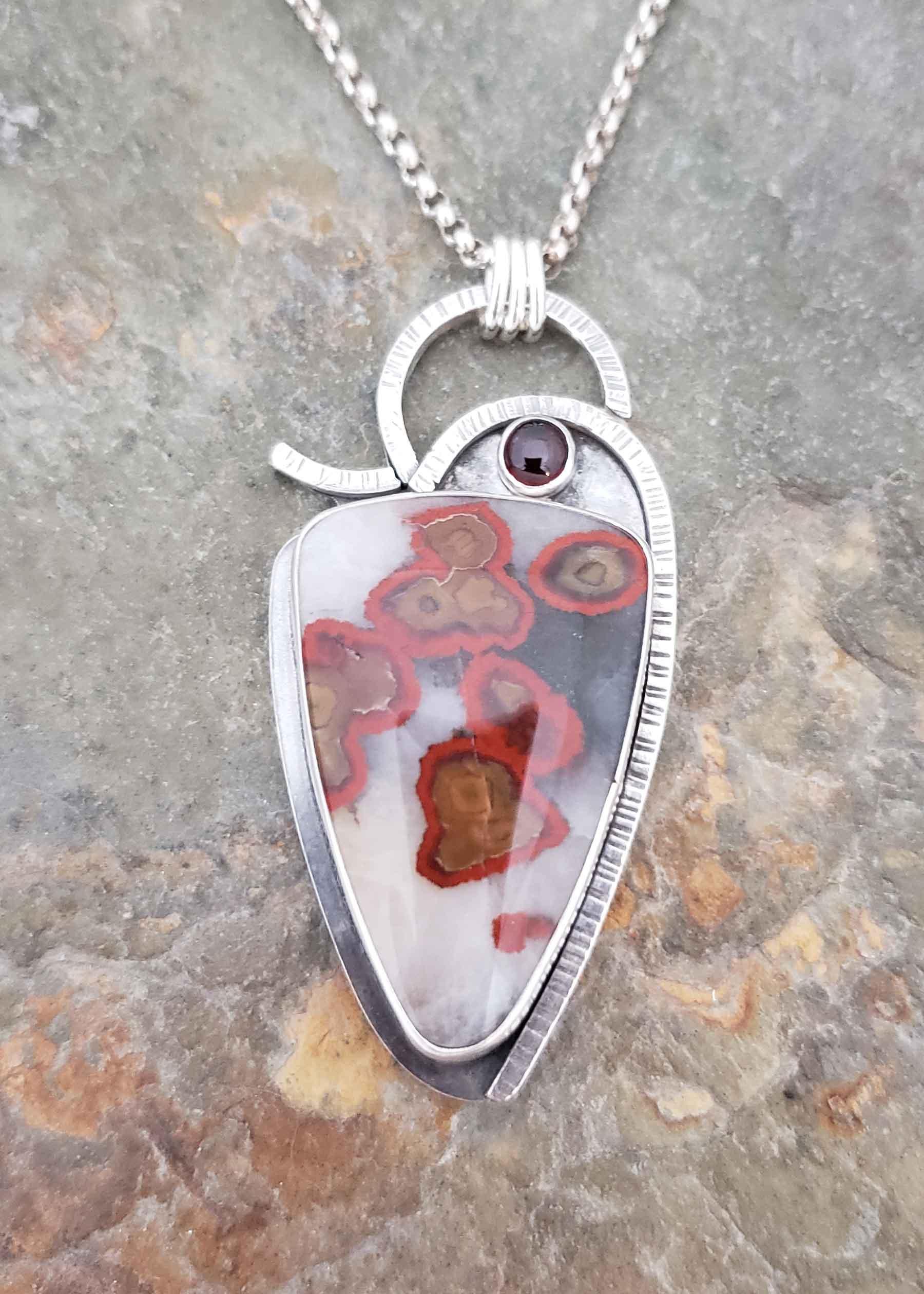 Red Ripple - poppy jasper and garnet silver pendant
