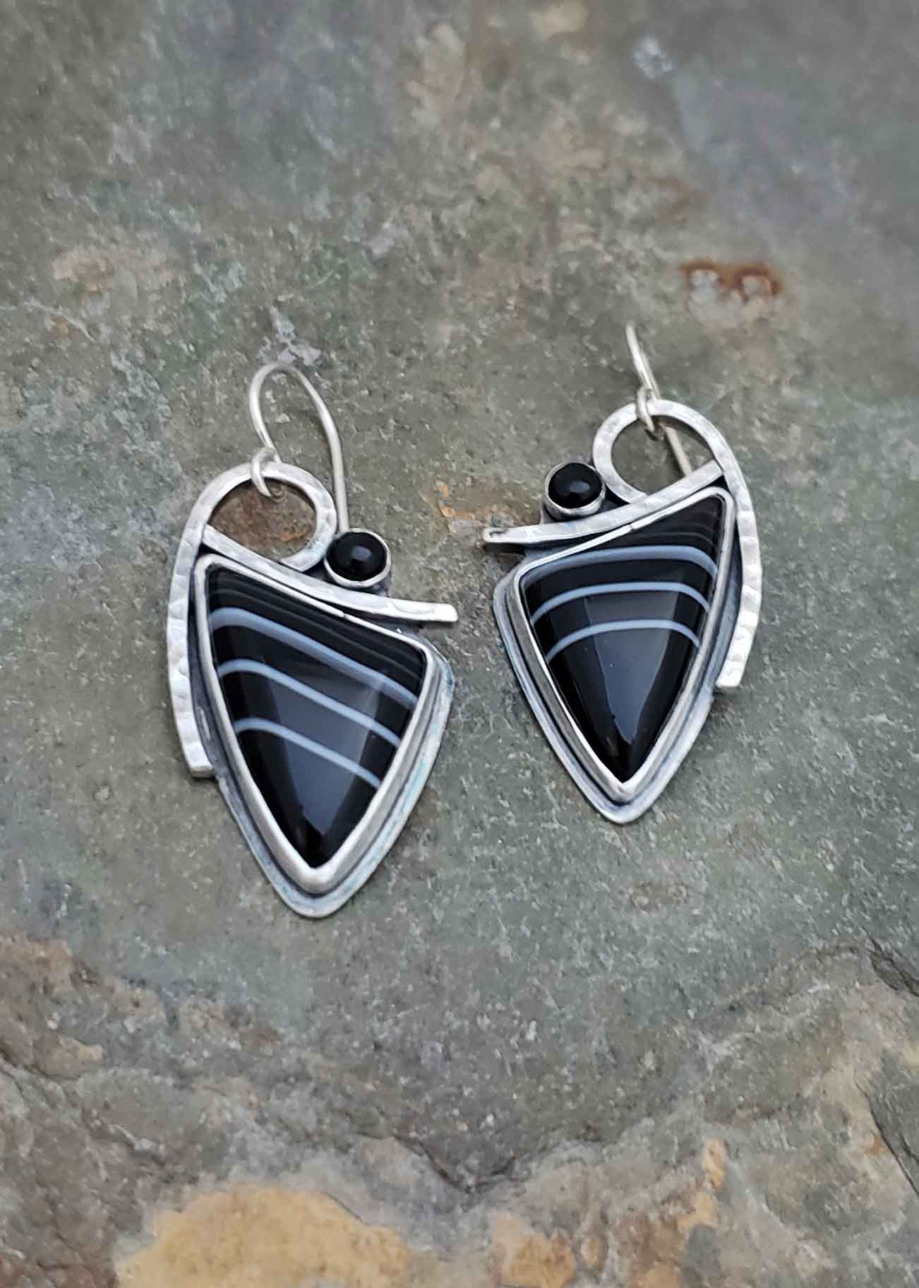 Starlight - black and white sardonyx and onyx silver earrings