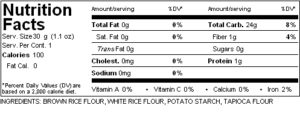 Gluten Free Dry Mix - Baked Goods Mix Nutrition Label