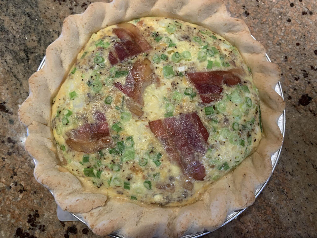 Quiche with gluten free pie crust