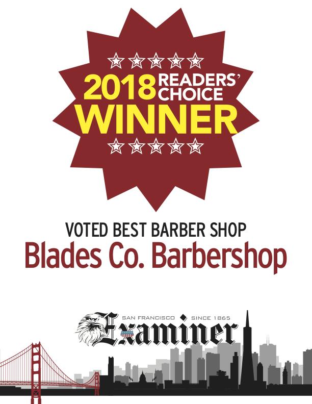 SF Examiner Readers' Choice 2018 Voted best barbershop