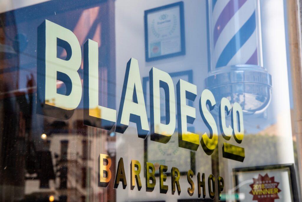 Blades Co barber shop storefront
