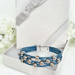Leather Bracelet Dark Blue Silver Beads - gift box