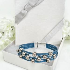 Leather Bracelet Dark Blue with Silver Beads in gift box