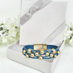 Leather Bracelet Dark Blue with Gold Beads in gift box
