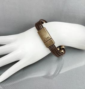 Leather Gold Beaded Bracelet for Women
