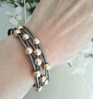 Gray Leather Bracelet with Gold Beads