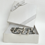 Women's Gray Leather Silver Beaded Bracelet in gift box