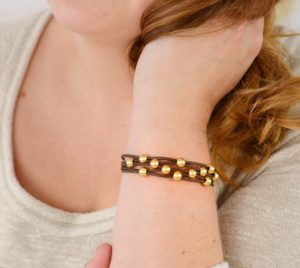 Brown Leather Bracelet with Gold Beads and Magnetic Clasp for women