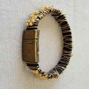 Wire Wrapped Leather Bracelet is secured with a strong matching magnetic clasp.