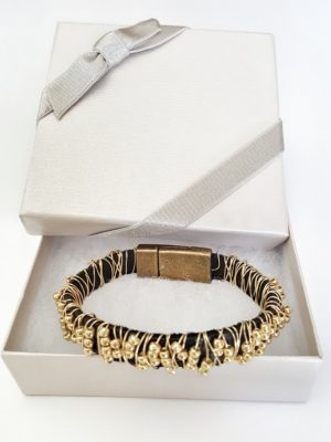 Leather Gold Beaded Stacking Bracelet in gift box