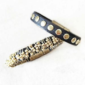 Leather Gold Stack Bracelet Set includes one each of the wire wrapped and the gold stud bracelets.