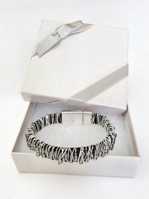 leather silver beaded stack bracelet in gift box