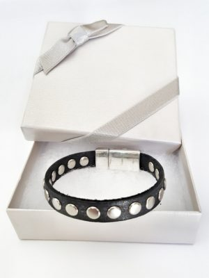 leather silver rivets stacking bracelet in gift box